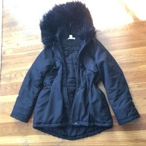 H&M BLACK FUR VEGAN WATER RESISTANT PARKA JACKET